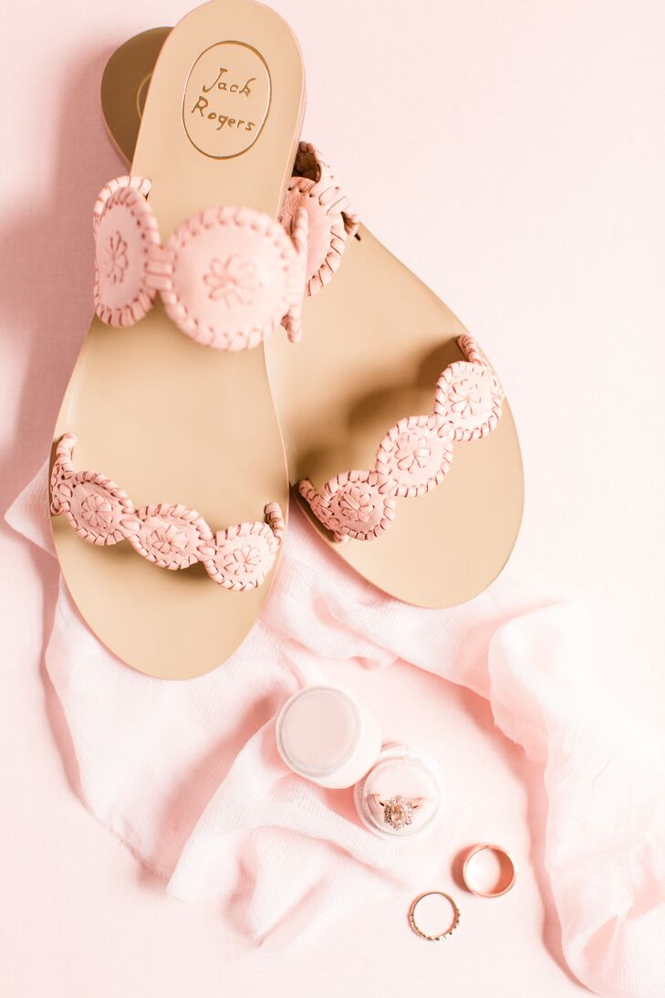 Pink Woven Bridal Sandals