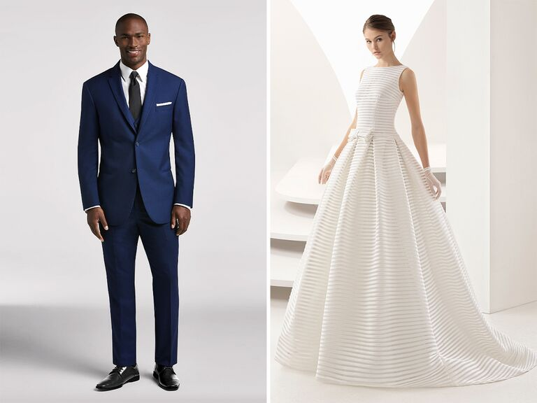 preppy wedding dress and suit