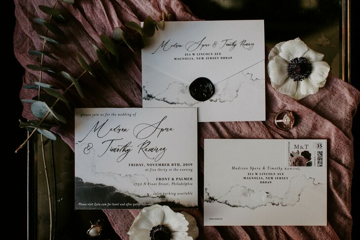 Black and White Invitations for Wedding at Front and Palmer in Philadelphia