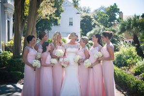 Long Blush Chiffon Bridesmaid Dresses