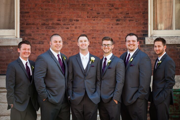 1b984969fcb0 The groomsmen wore charcoal Vera Wang suits with dark purple vests, ties  and pocket squares
