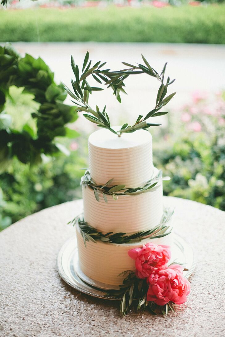 Textured Ice Cream Cake with Olive Branch Topper