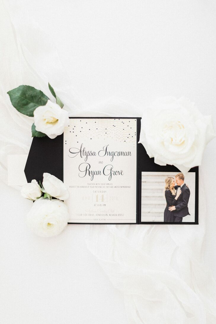 Modern Black, White and Gold Invitations
