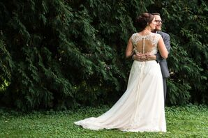 Vintage-Style Wedding Gown With Illusion Back