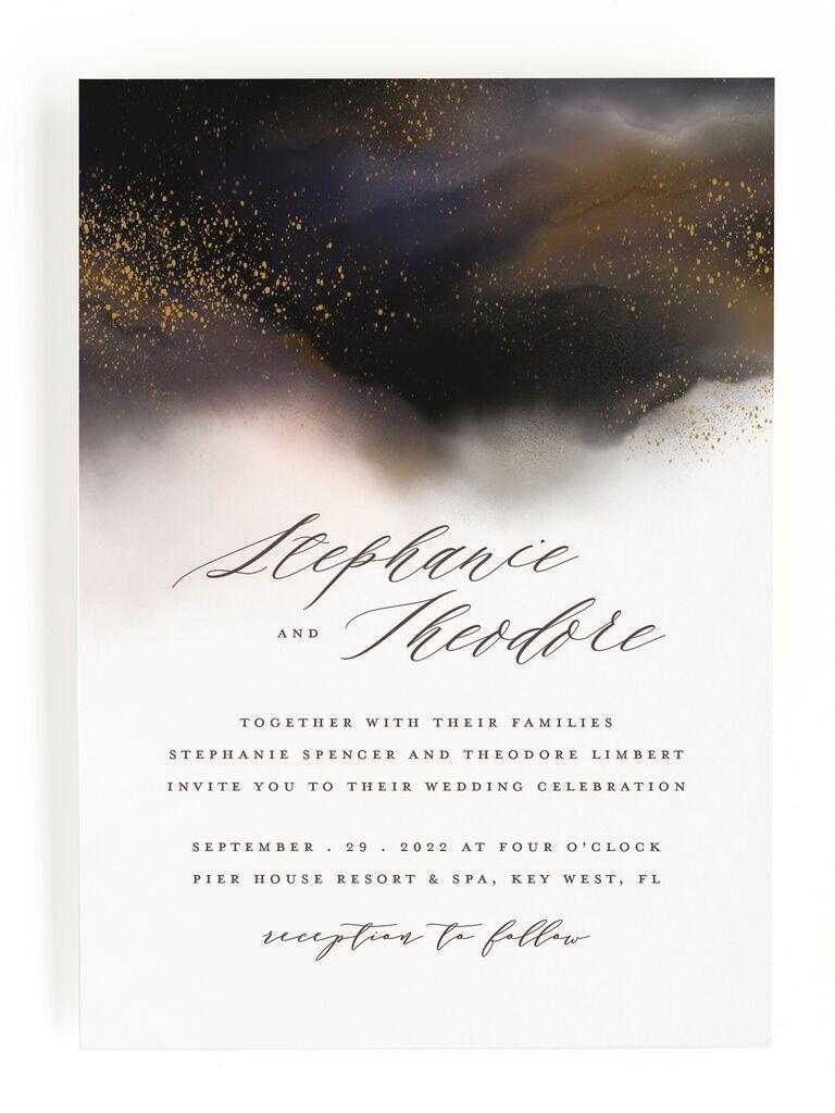 Nighttime fall wedding invitation