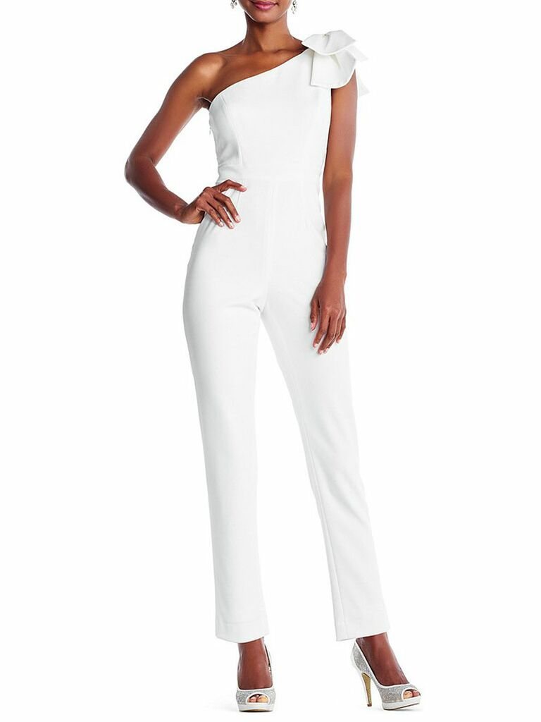 Adrianna Papell petite one-shoulder bow jumpsuit - bridal jumpsuits