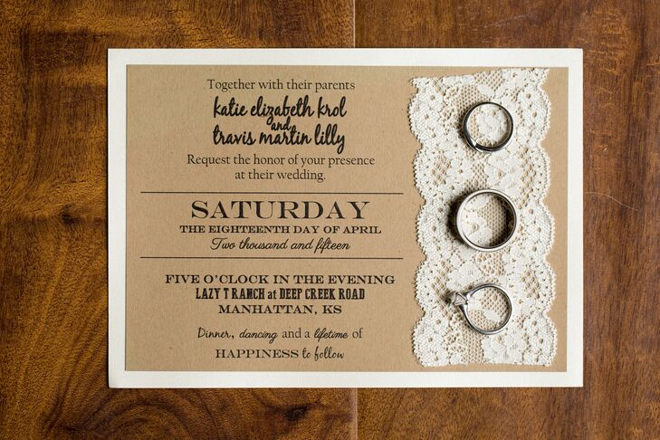 Katie and Travis welcomed guests to celebrate their big day with shabby-chic invitations. Mixed typography was laser-printed directly onto the rustic paper, adorned with a strip of lace and backed with sturdy white card stock.