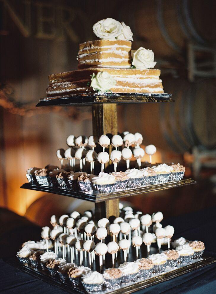 Square Naked Wedding Cake Display