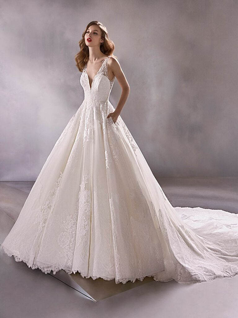Atelier Provonias wedding dress lace ball gown