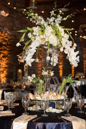 Modern White Orchid Cascade Centerpieces