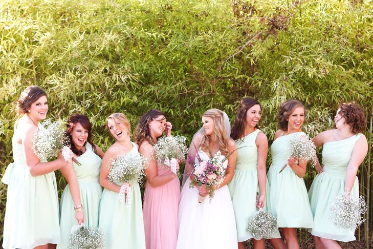 e24f4cf28884 Macy's bridesmaids wore short mint green gowns while her sister, the maid  of honor,