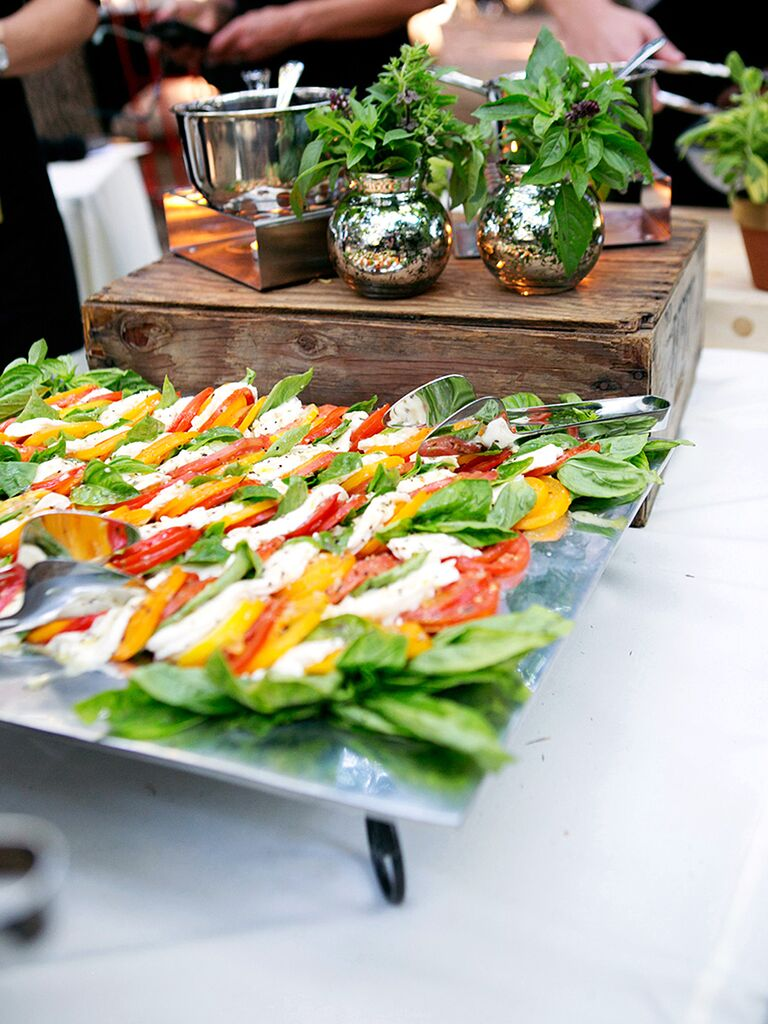 Caprese salad station idea for wedding reception food