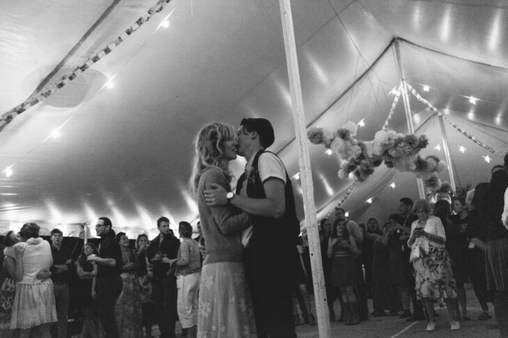 "The couple's first-dance song, sung by Lucy's mom, was ""Gypsy."" ""We met in high school, but it took us many years to end up together. The song represents that,"" Ariana says. ""It's one of my favorites."" The tent was set up with an open mike, allowing the many musicians at the party to perform. ""So many people ended up playing music, we didn't even need a playlist,"" Ariana says."
