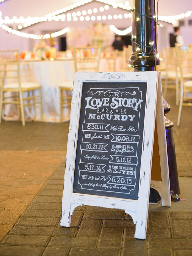 Chalkboard wedding sign with the couple's love story timeline