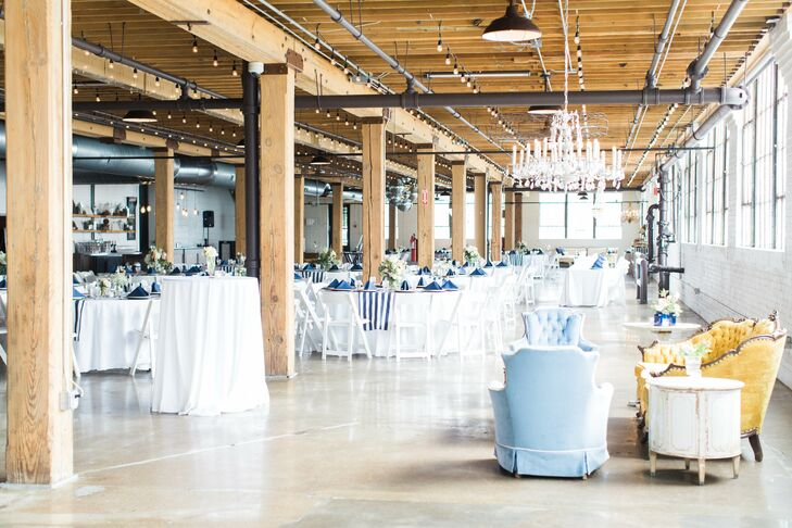 The Cheney Place was a perfect reflection of the personality and tastes of both the bride and groom.  It boasted beautiful polished concrete floors, large windows and exposed brick walls. Rustic white chandeliers hung in the corners of the venue.