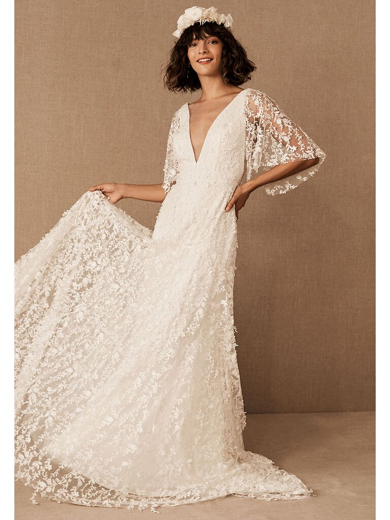 BHLDN A-line dress with lace floral overlay and V-neckline