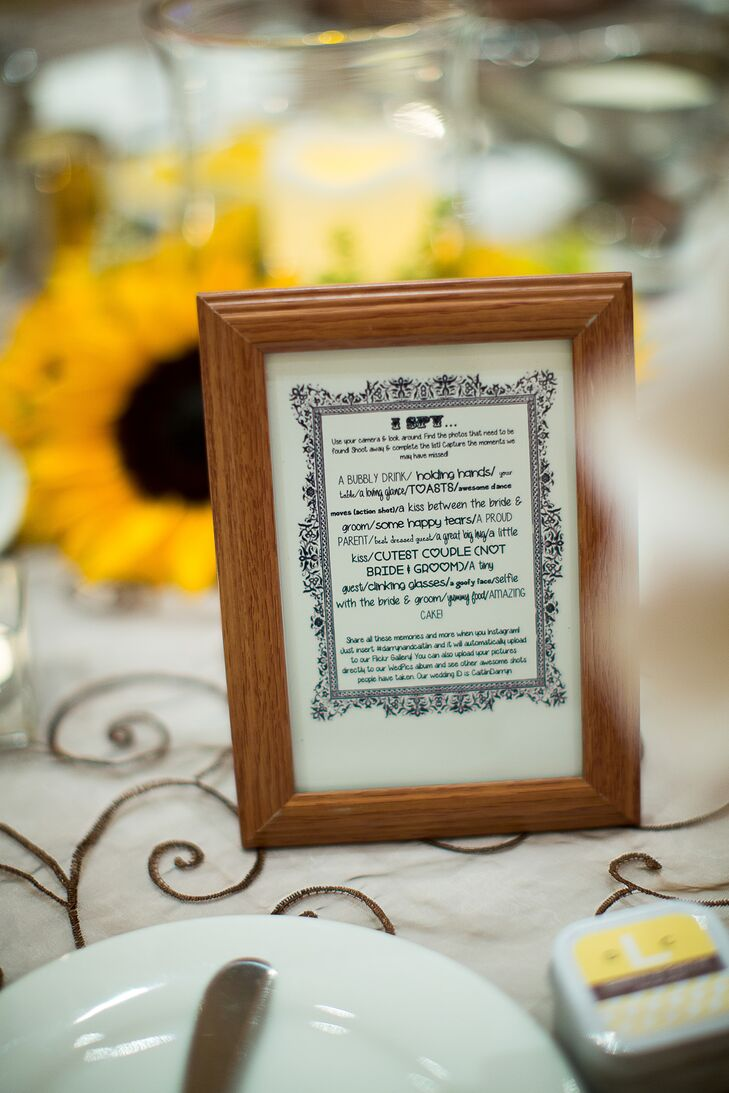 The newlyweds challenged their guests to take pictures of a number of wedding activities at the reception.