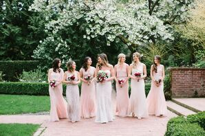 Beaded Blush Bridesmaid Dresses
