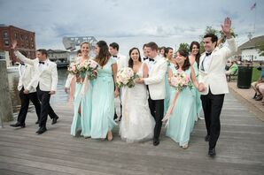 Mint Bridesmaid Dresses and White Groomsmen Jackets