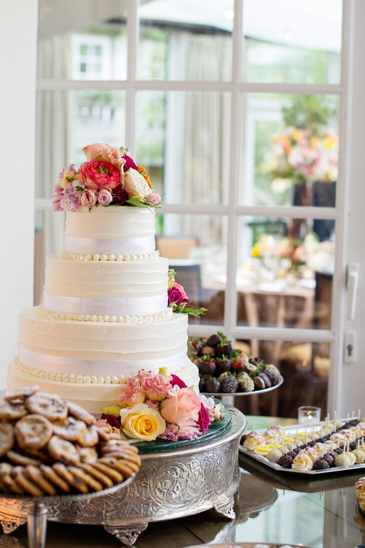 Four-Tier White and Ivory Buttercream Wedding Cake