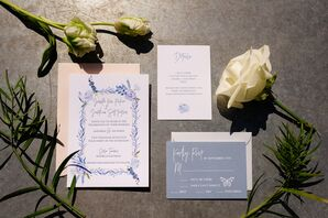 French Blue Floral Wedding Invitations