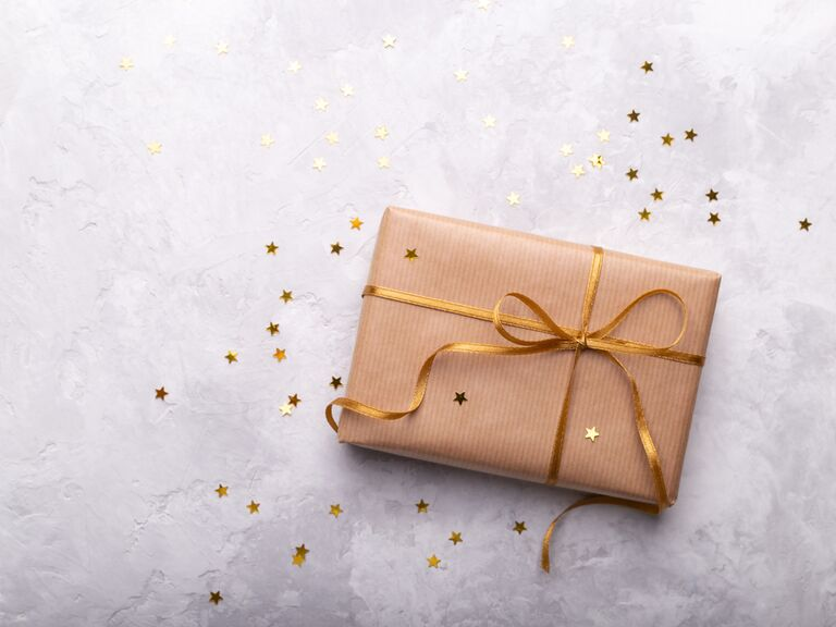 Gift wrapped with gold bow