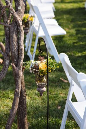 Shepard's Hook Aisle Markers with Hanging Yellow Roses