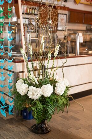 Willow Branch, Hydrangea and Fern Arrangement