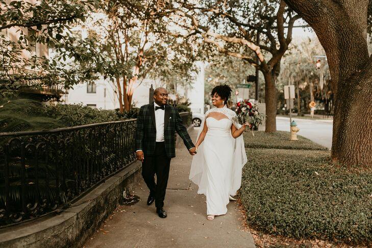 Couple at Forsyth Park in Savannah Georgia