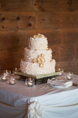 Rustic Fondant Three-Tiered Wedding Cake