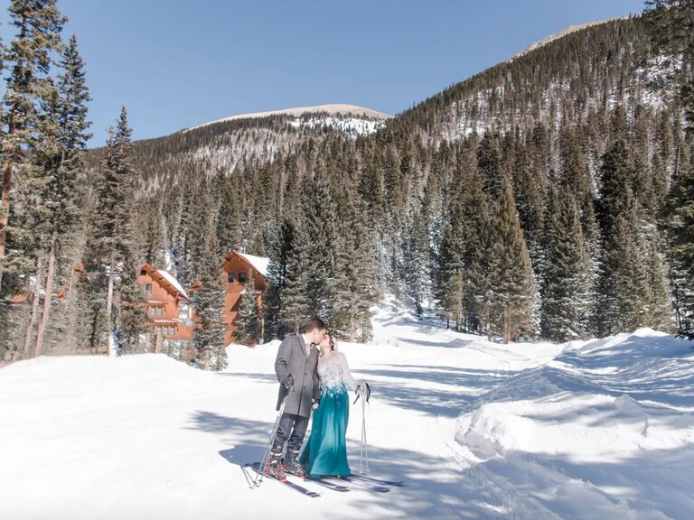 winter wedding ideas skiing picture