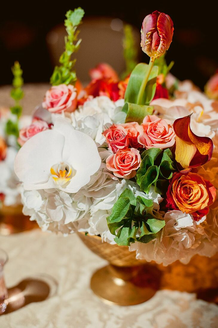 Coral and White Floral Arrangement