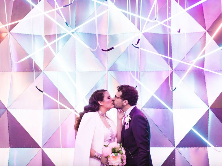 winter wedding ideas neon lights