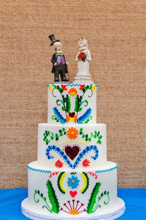 Colorful Hand-Painted Fondant Cake with Day of the Dead Toppers