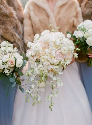 Cascading Ivory Ranunculus, Peony and Orchid Bouquet