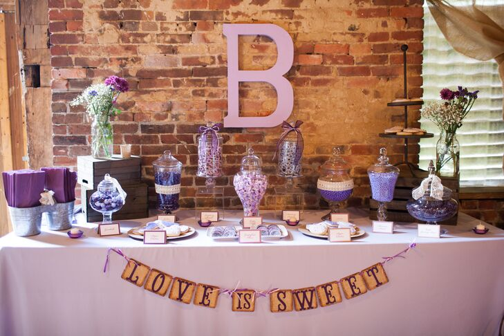 Sara and Josh invited their guests to make goodie bags of candy as wedding favors. All the candies were purple, to match the theme.