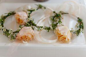 Peach Garden Rose Flower Girl Tiaras