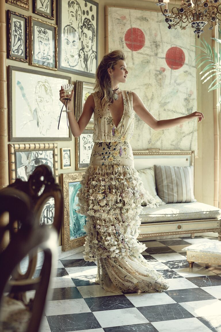 Houghton floral-print gown