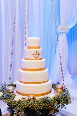 Swinging Five-Tier White and Gold Cake with Monogram