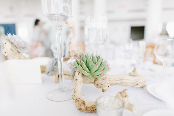 Stephanie and Jim kept the table decor simple and beach-themed with natural driftwood covered in succulents and finished it off with a few glass votive candle holders.