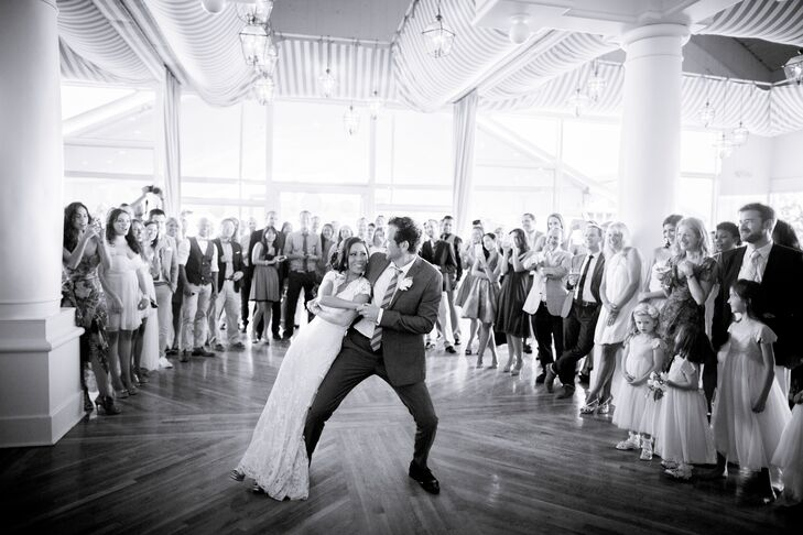 """The couple kicked up the reception with a choreographed first dance to """"You're The One That I Want"""" form Grease. """"We miraculously didn't fall on our faces- so much fun!"""" The DJ followed up the first dance with """"I Love It"""" by Icono Pop to get the party going."""