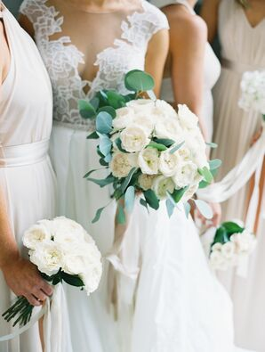 Classic Tight Bouquet of White Peonies and Eucalyptus Leaves
