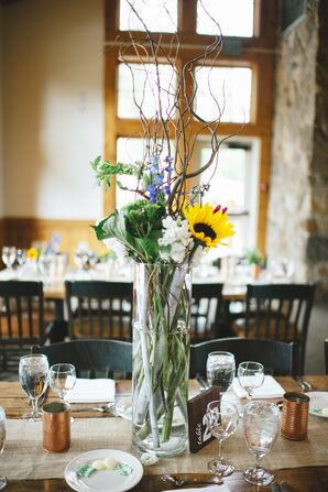 Tall Sunflower and Branch Centerpieces