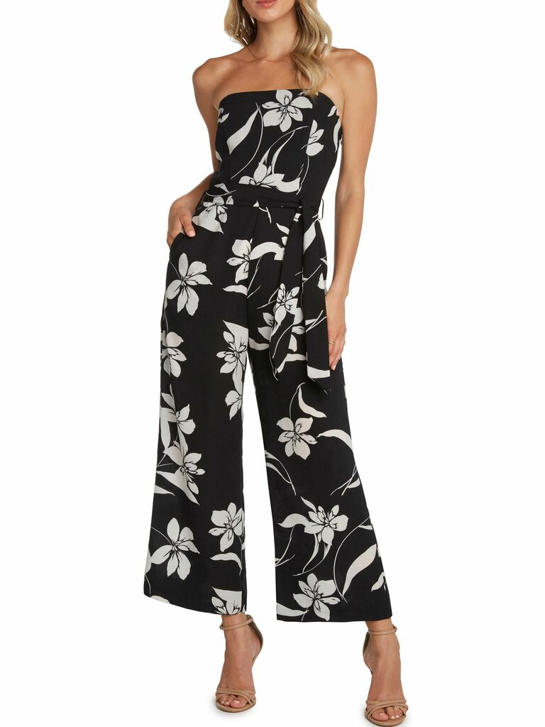 Strapless wide leg jumpsuit with oversize floral print