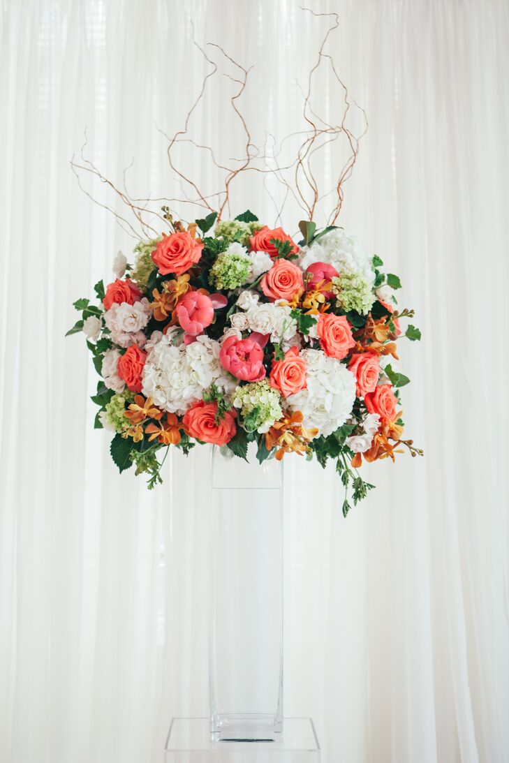 Modern Coral Rose and Peony Arrangement