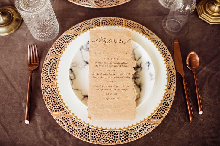 Vintage Menu and Elegant Dinnerware