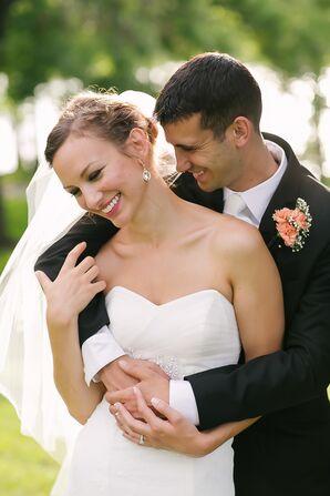 Bride and Groom Embrace in Backyard Wedding