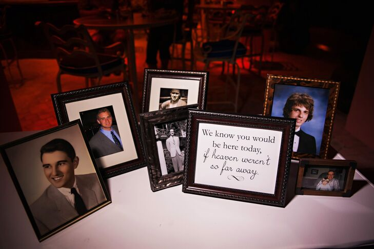 While Kelly's older brother passed away five years ago, she wanted to ensure he was present and remembered at the wedding. A few of his things as well as pictures and a small note were tastefully placed around the reception area.