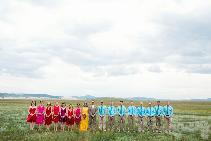 """With the feeling of celebration leading our style choices, the bridesmaids were to choose their dress of fuchsia to red hues and the groomsmen wore gingham print button down shirts in vibrant shades of teal and blue topaz."""