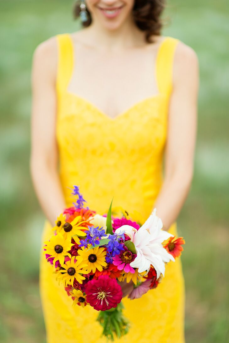 """We choose to grow our own wildflowers for the wedding in our front yard of our home,"" Shauna says. ""I picked all the flowers in my bouquet the sunny morning before we drove up to the ranch."""